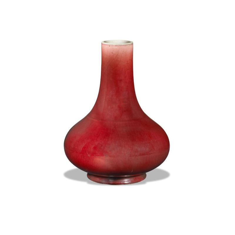 郎红釉荸荠瓶