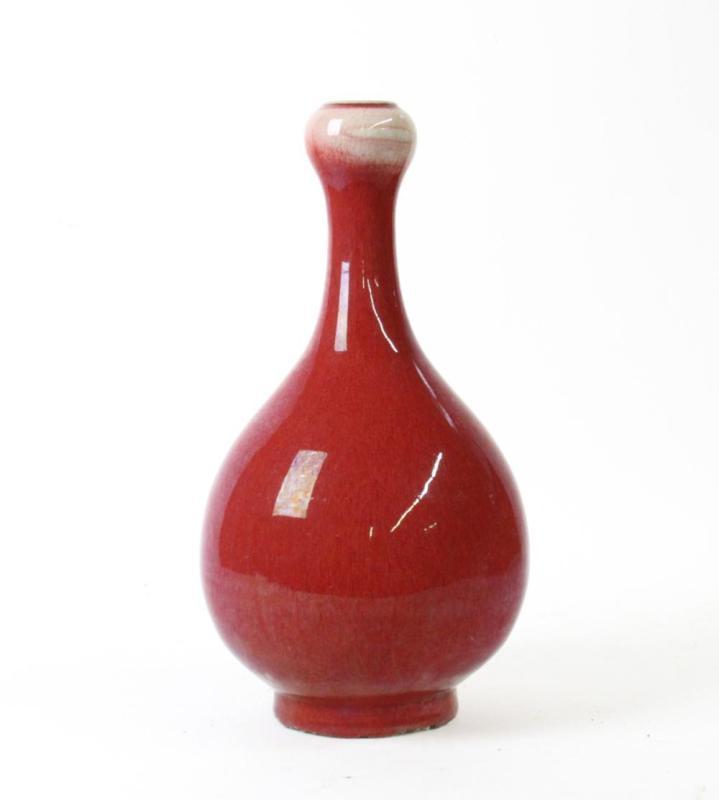 红釉蒜头瓶